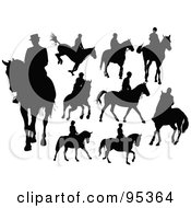 Royalty Free RF Clipart Illustration Of A Digital Collage Of Horse Riders Silhouetted In Black by leonid