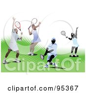 Royalty Free RF Clipart Illustration Of A Group Of Tennis Players On Green Halftone