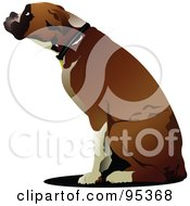 Royalty Free RF Clipart Illustration Of A Boxer Dog Sitting In Profile