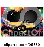 Royalty Free RF Clipart Illustration Of An Industrial Dump Truck On Black With Colorful Splatters by leonid