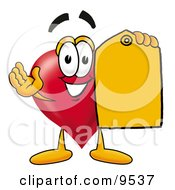 Love Heart Mascot Cartoon Character Holding A Yellow Sales Price Tag