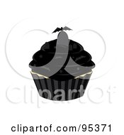 Royalty Free RF Clipart Illustration Of A Vampire Bat And Tombstone On Top Of A Black Cupcake