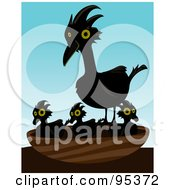 Crow Standing Over Her Chicks In A Nest