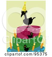 Royalty Free RF Clipart Illustration Of A Black Over The Hill Crow Wearing A Party Hat And Standing On A Cake by Randomway