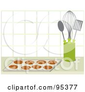 Royalty Free RF Clipart Illustration Of A Tray Of Fresh Chocolate Chip Cookies By Utensils On A Kitchen Counter