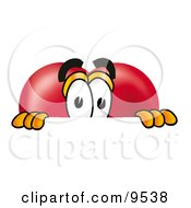 Clipart Picture Of A Love Heart Mascot Cartoon Character Peeking Over A Surface by Toons4Biz