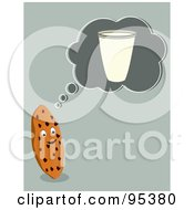 Royalty Free RF Clipart Illustration Of A Chocolate Chip Cookie Thinking Of A Glass Of Milk