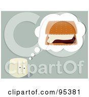 Royalty-Free (RF) Clipart Illustration of a Marshmallow Bar Thinking Of Smores by Randomway