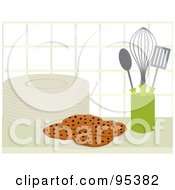 Royalty Free RF Clipart Illustration Of A Plate Of Fresh Chocolate Chip Cookies By Utensils On A Kitchen Counter