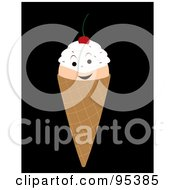 Royalty Free RF Clipart Illustration Of A Smiling Double Scoop Waffle Ice Cream Cone Character On Black by Randomway