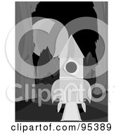 Royalty Free RF Clipart Illustration Of A Black And White Rocket Landed On An Alien Planet