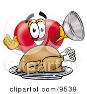 Clipart Picture Of A Love Heart Mascot Cartoon Character Serving A Thanksgiving Turkey On A Platter by Toons4Biz