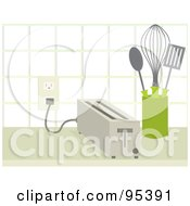 Royalty Free RF Clipart Illustration Of A Toaster Beside Utensils On A Kitchen Counter