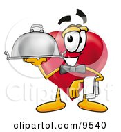 Love Heart Mascot Cartoon Character Dressed As A Waiter And Holding A Serving Platter
