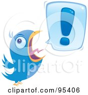 Royalty Free RF Clipart Illustration Of A Blue Bird Screeching An Exclamation Point by John Schwegel