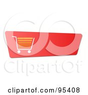 Royalty Free RF Clipart Illustration Of A Slanted Red Shopping Cart Or Checkout Button With Shading by oboy