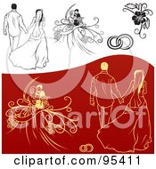 Digital Collage Of Black And White And Red And Yellow Engagement And Wedding Design Elements 3