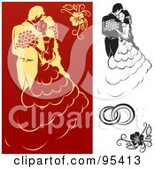 Royalty Free RF Clipart Illustration Of A Digital Collage Of Black And White And Red And Yellow Engagement And Wedding Design Elements 2 by dero