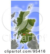 Royalty Free RF Clipart Illustration Of A Shaded Relief Map Of Scotland