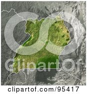 Royalty Free RF Clipart Illustration Of A Shaded Relief Map Of Uganda