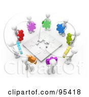 Circle Of 3d White People Holding Different Colored Puzzle Pieces Around A Nearly Complete Puzzle