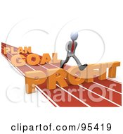 Royalty Free RF Clipart Illustration Of A 3d White Person Leaping Over Plan Goal And Profit Obstacles On A Track by 3poD