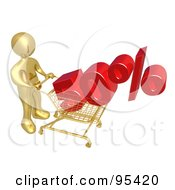 Royalty Free RF Clipart Illustration Of A 3d Gold Person Pushing A 50 Percent Discount In A Shopping Cart