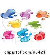 Royalty Free RF Clipart Illustration Of A Digital Collage Of Colorful Liquid Splashes