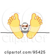 Royalty Free RF Clipart Illustration Of A Stick People Man Wearing Shades And Relaxing With His Feet Up On A Table by NL shop