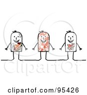 Royalty Free RF Clipart Illustration Of Three Stick People Men With Tattoos