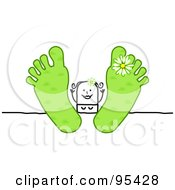 Royalty Free RF Clipart Illustration Of A Stick People Woman Relaxing With Her Green Spring Feet Up On A Table by NL shop