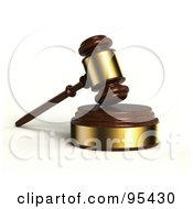 3d Wooden And Gold Gavel Resting On A Sound Block