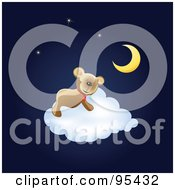 Royalty Free RF Clipart Illustration Of A Cute Teddy Sleeping On A Fluffy White Cloud Under The Moon And Stars by Eugene #COLLC95432-0054