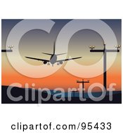 Royalty Free RF Clipart Illustration Of A Plane Taking Off Or Landing At An Airport Silhouetted Against The Sunset by Eugene