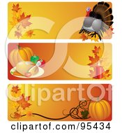 Royalty Free RF Clipart Illustration Of A Digital Collage Of Turkey Feast And Pumpkin Thanksgiving Website Header Banners