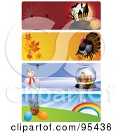 Royalty Free RF Clipart Illustration Of A Digital Collage Of Halloween Thanksgiving Christmas And Easter Website Header Banners by Eugene