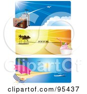 Royalty Free RF Clipart Illustration Of A Digital Collage Of Airport Desert Ice Cream And Tropical Beach Travel Website Header Banners by Eugene