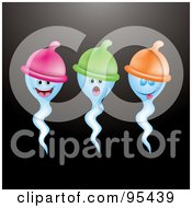Royalty Free RF Clipart Illustration Of Three Blue Sperms Wearing Condom Hats