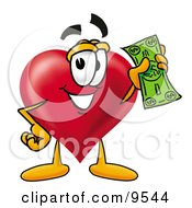 Clipart Picture Of A Love Heart Mascot Cartoon Character Holding A Dollar Bill