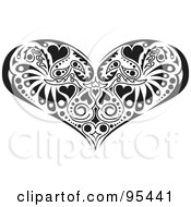 Royalty Free RF Clipart Illustration Of A Black And White Victorian Heart Design by Andy Nortnik