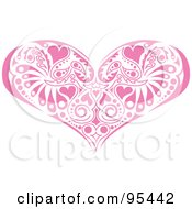 Royalty Free RF Clipart Illustration Of A Pink Victorian Heart Design by Andy Nortnik