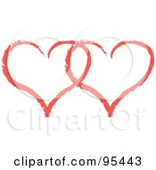 Royalty Free RF Clipart Illustration Of A Red Heart Outline Design 9 by Andy Nortnik