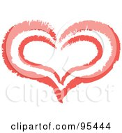 Royalty Free RF Clipart Illustration Of A Red Heart Outline Design 6 by Andy Nortnik