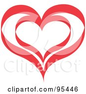 Royalty Free RF Clipart Illustration Of A Red Heart Outline Design 5 by Andy Nortnik