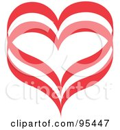 Royalty Free RF Clipart Illustration Of A Red Heart Outline Design 4 by Andy Nortnik