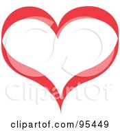Royalty Free RF Clipart Illustration Of A Red Heart Outline Design 1 by Andy Nortnik