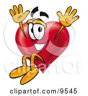 Clipart Picture Of A Love Heart Mascot Cartoon Character Jumping