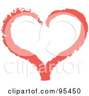Royalty Free RF Clipart Illustration Of A Red Heart Outline Design 2 by Andy Nortnik