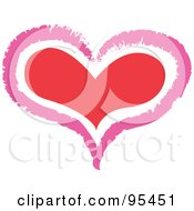 Royalty Free RF Clipart Illustration Of A Pink Outline Around A Red Heart by Andy Nortnik
