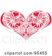 Royalty Free RF Clipart Illustration Of A Red Victorian Heart Design by Andy Nortnik
